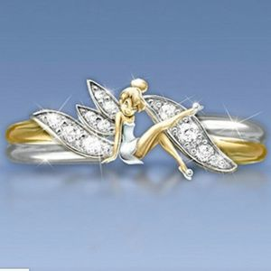 Tinker Bell Ring Disney Size 6 7 8 9 Silver Gold